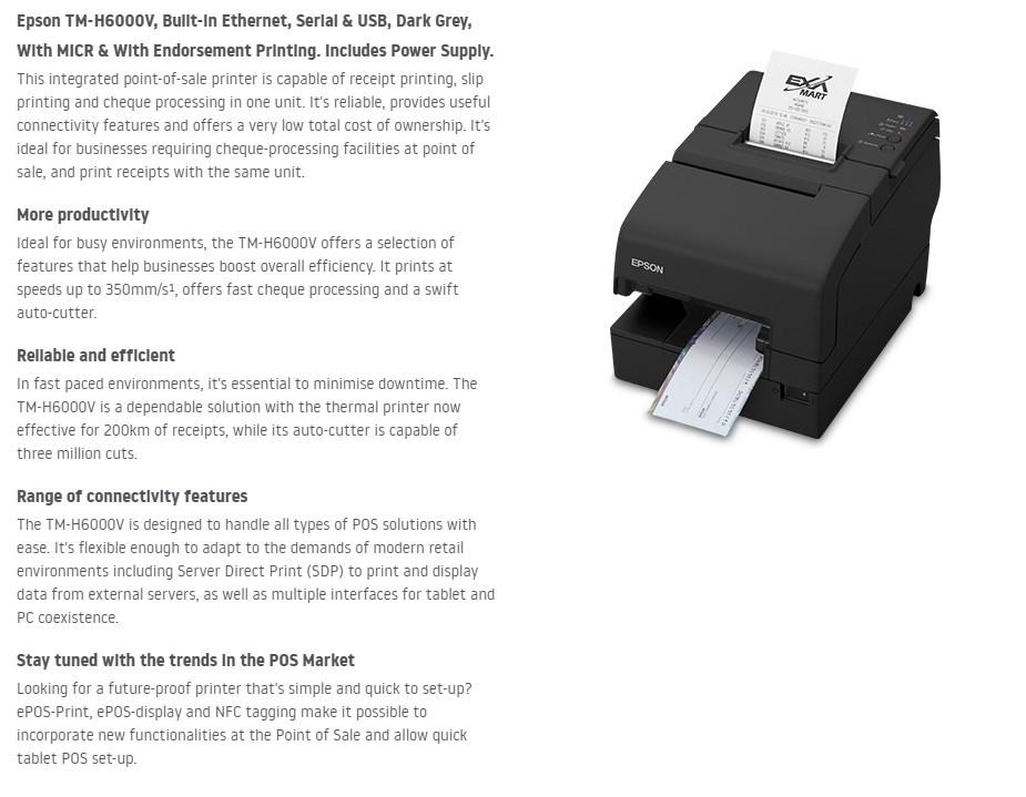 Epson TM-H6000V POS Thermal Receipt Printer - Ethernet, Serial & USB - Overview 1