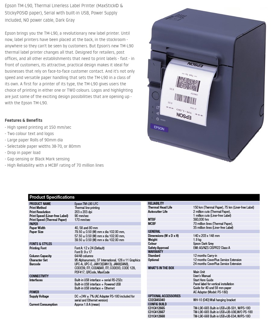 Epson TM-L90 Thermal Linerless Label Printer - Serial & USB - Overview 1