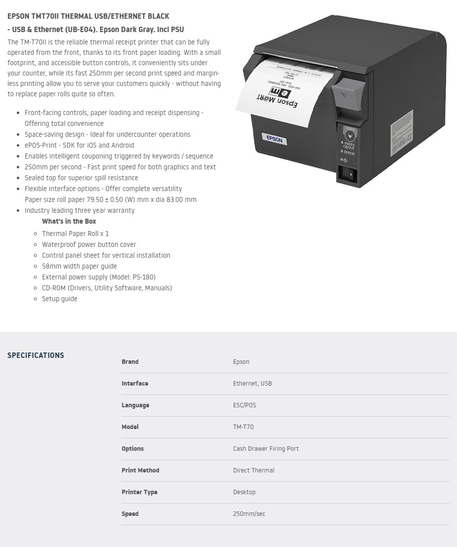 Epson TMT70II Thermal Receipt Printer - USB & Ethernet - Overview 1