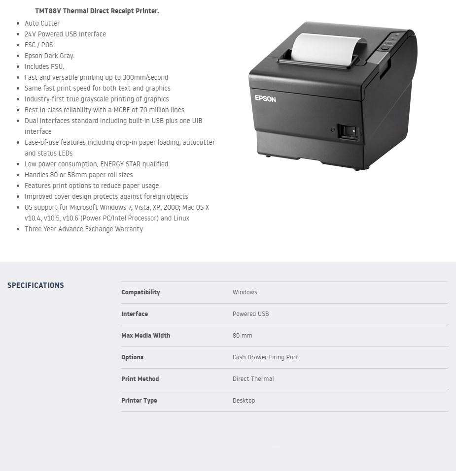 Epson TMT88V Thermal Receipt Printer - USB - Overview 1