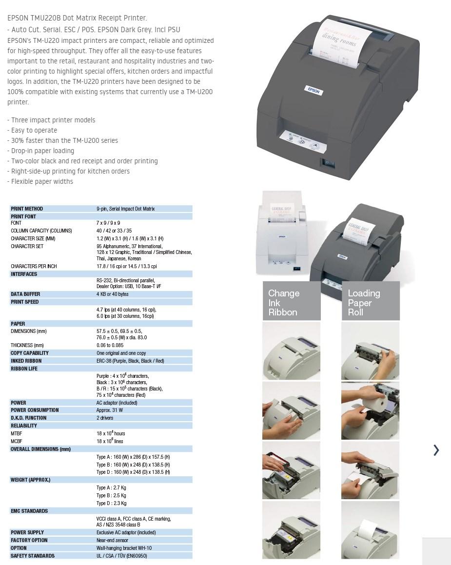 Epson TMU220B Intelligent Dot Matrix Receipt Printer - Ethernet - Overview 1