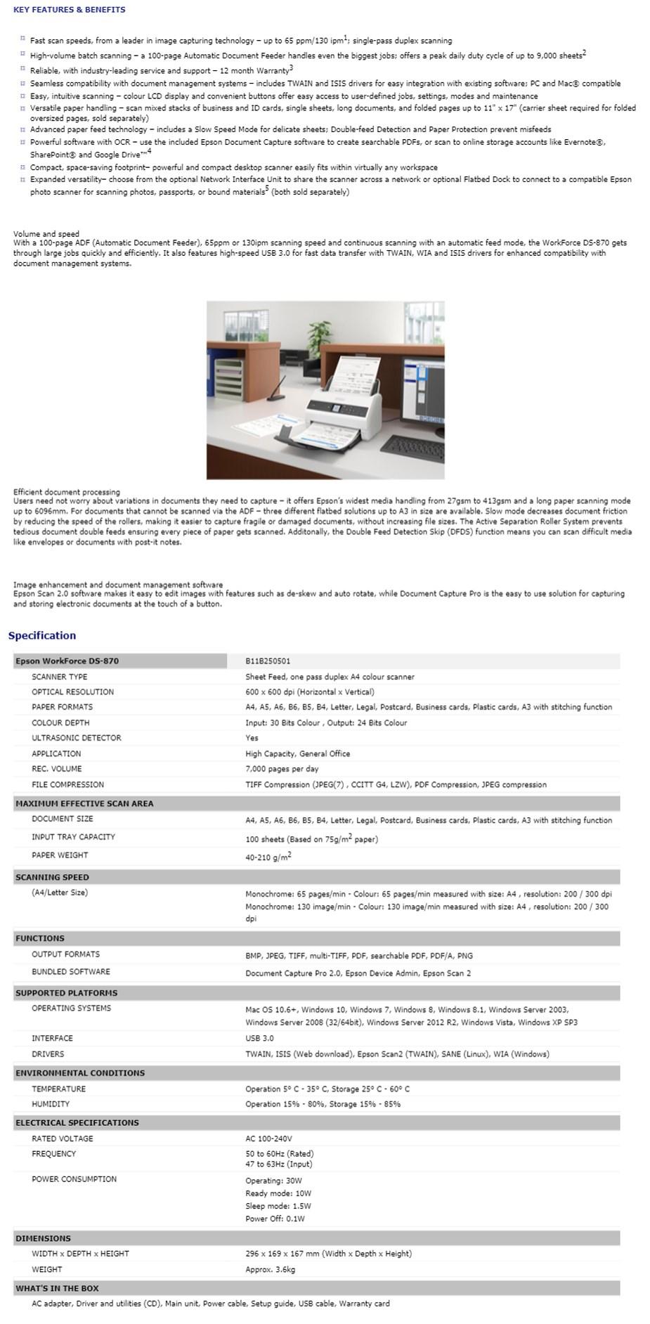 Epson WorkForce DS-870 Document Scanner - Overview 1