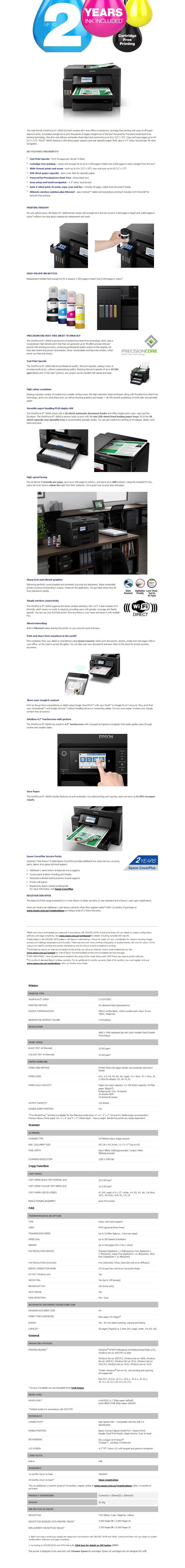 Epson WorkForce EcoTank ET-16600 A4 Colour MultiFunction Inkjet Printer - Overview 1