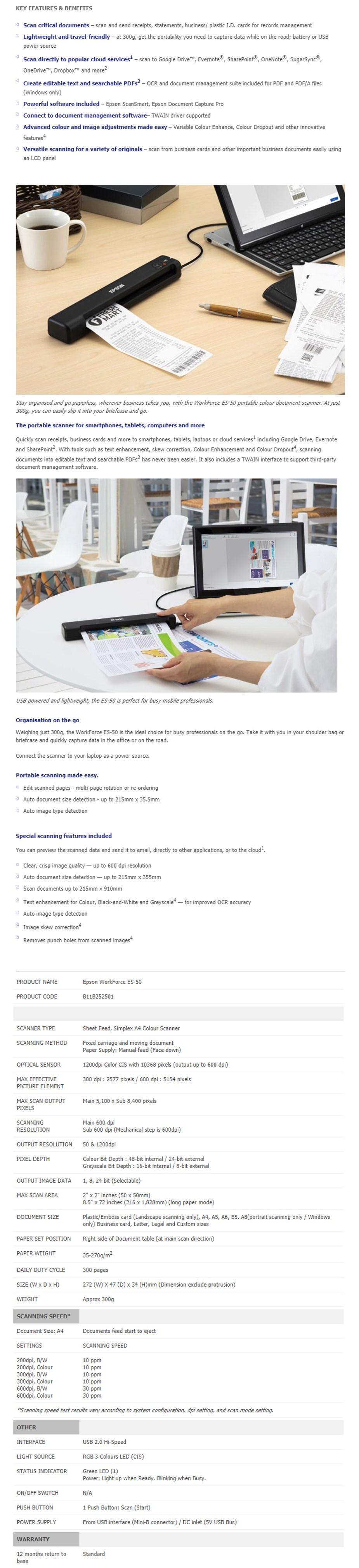 Epson WorkForce ES-50 Portable A4 Colour Photo Scanner - Overview 1