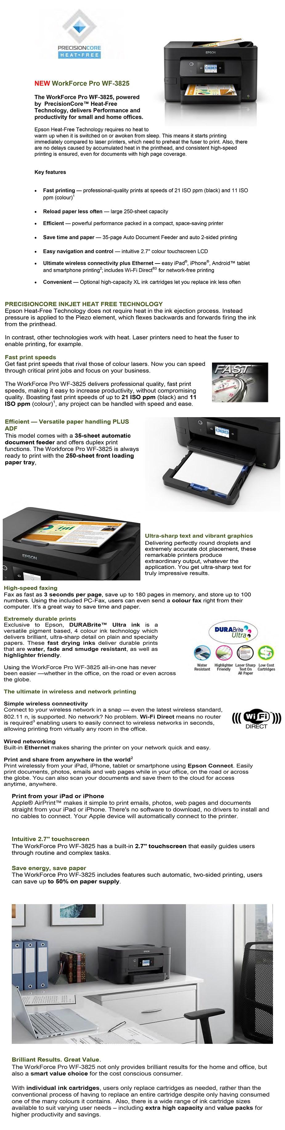 Epson WorkForce Pro WF-3825 A4 Wireless Colour Multifunction Inkjet Printer - Overview 1