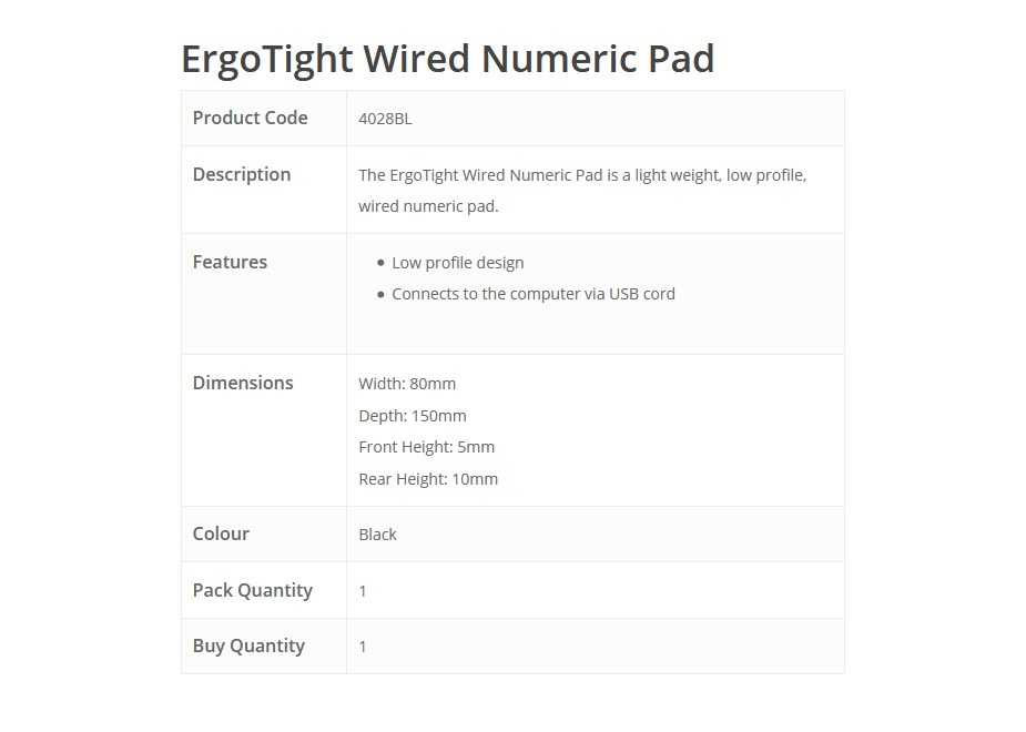 ErgoTight Wired Numeric Pad overview1