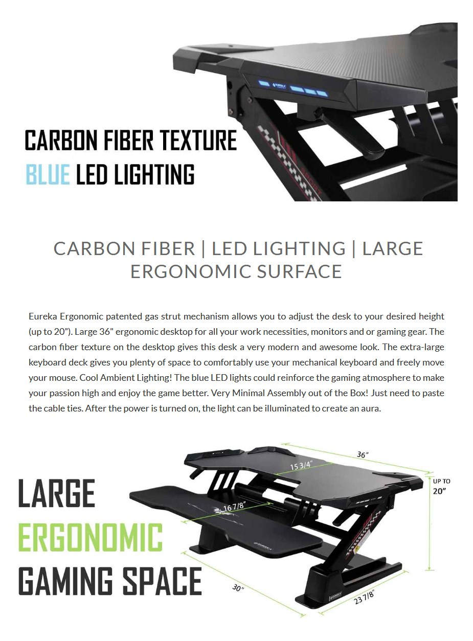 """Eureka Ergonomic 36"""" Height Adjustable Stand Up Desk Converter - Black - Overview 1"""