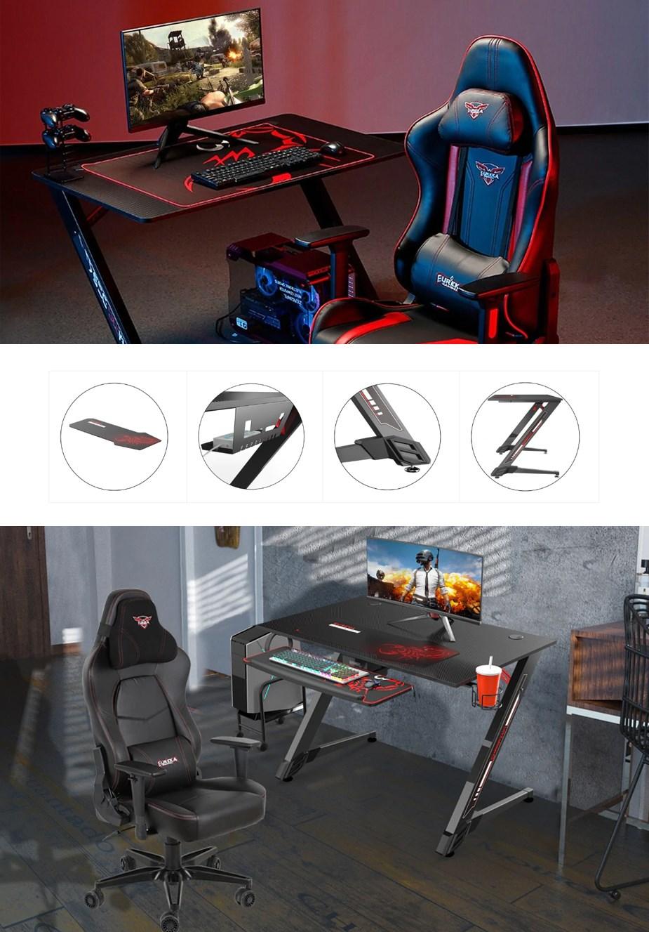 "Eureka Ergonomic 43"" Small Gaming Desk - Black - Overview 1"