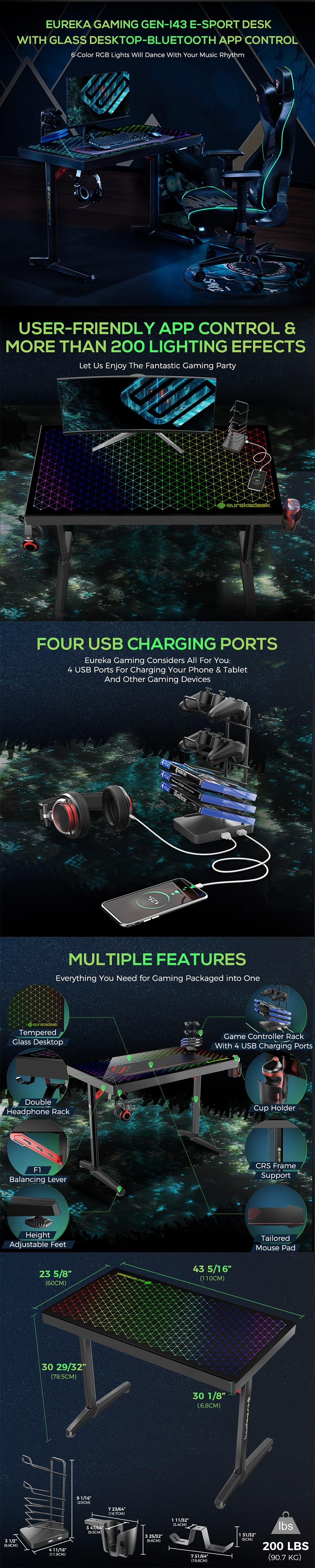 Eureka Ergonomic GTG-I43 RGB Glass Gaming Desk - Overview 1