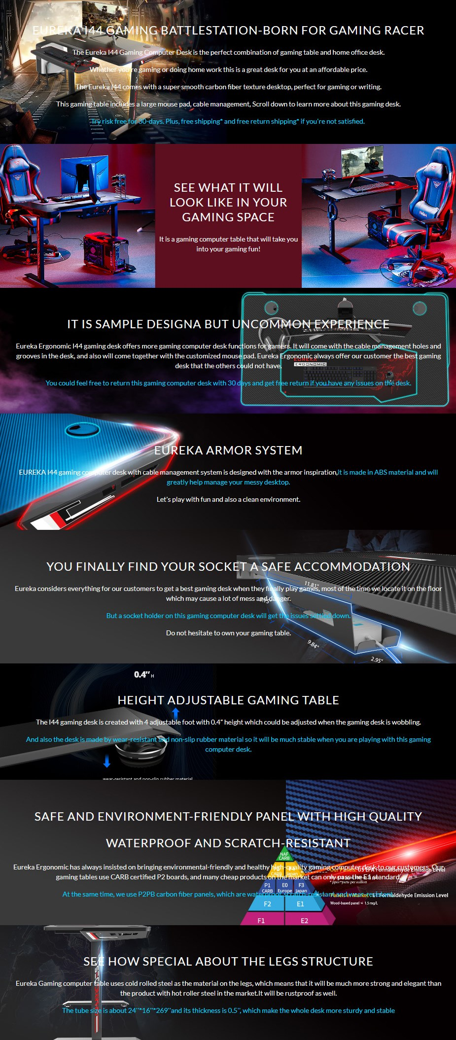 "Eureka Ergonomic I1-S 45"" Gaming Desk - Black - Overview 1"