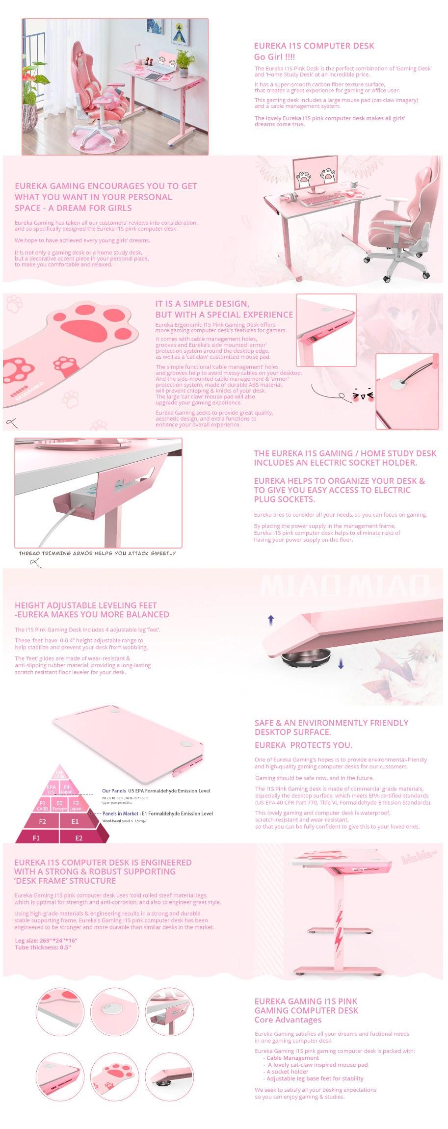 """Eureka Ergonomic I1-S 45"""" Gaming Desk - Pink - Overview 1"""