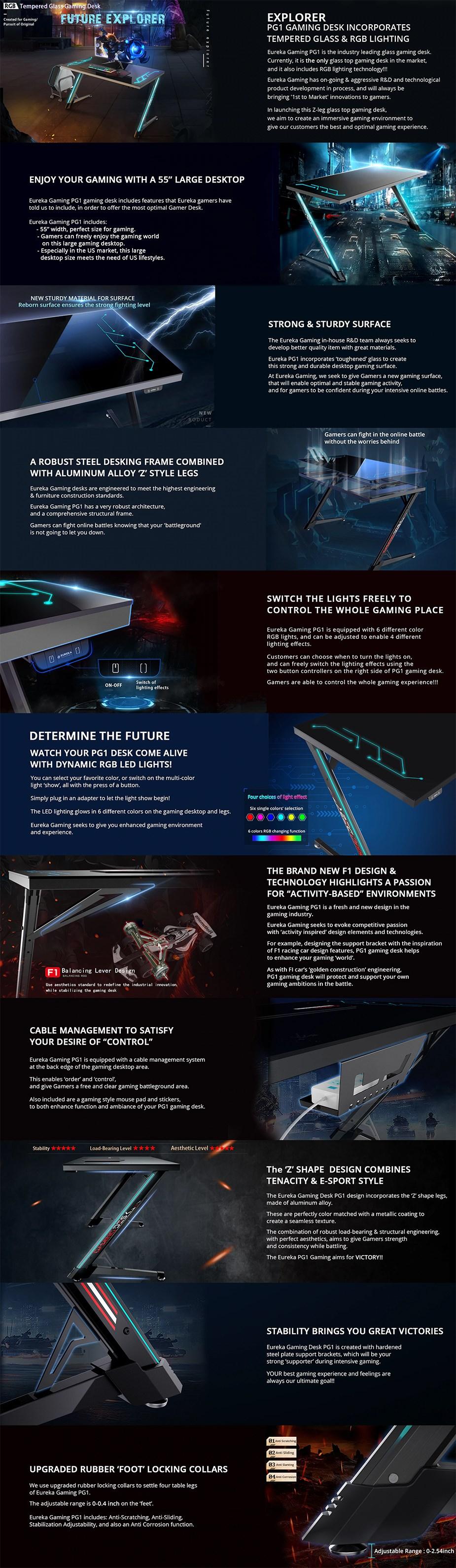 "Eureka Ergonomic PG1 55"" RGB Tempered Glass Gaming Desk - Overview 1"