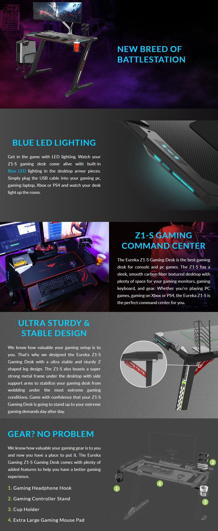 "Eureka Ergonomic Z1-S 44.5"" LED Gaming Desk - Black - Overview 1"