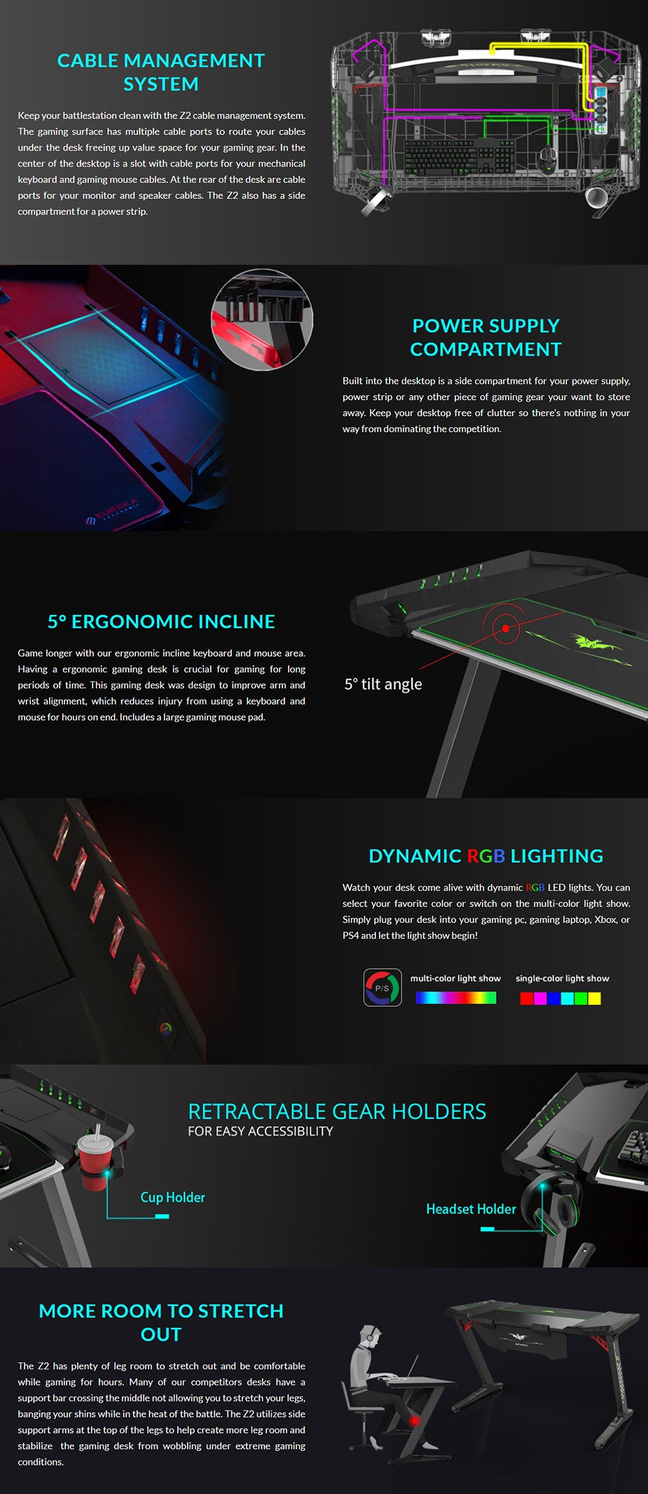 "Eureka Ergonomic Z2 50.5"" RGB Gaming Desk - Black - Overview 1"