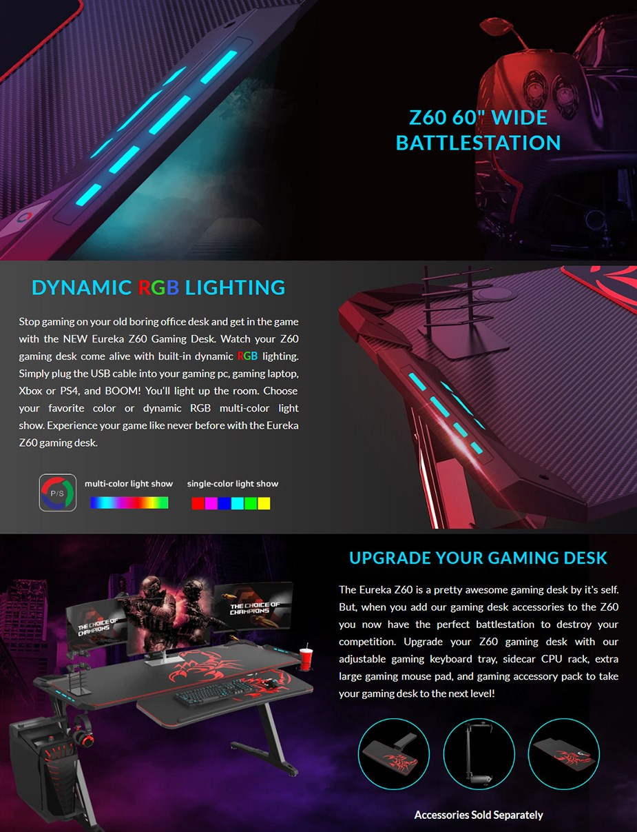 "Eureka Ergonomic Z60 60"" RGB Gaming Desk - Black - Overview 1"