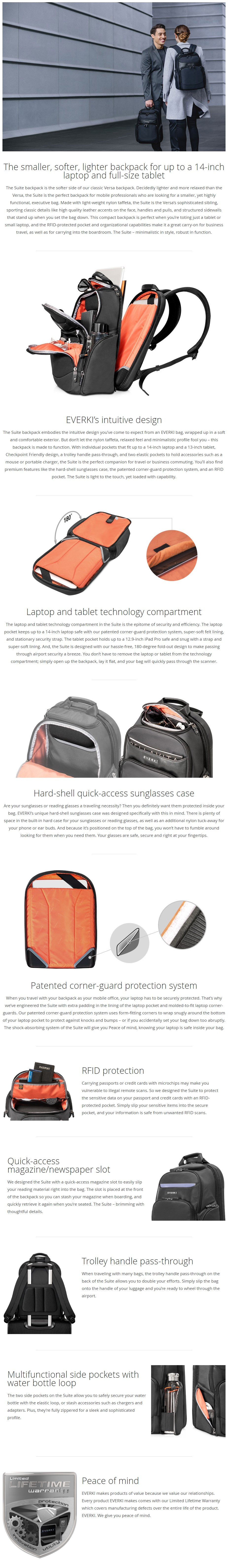 """Everki 14"""" Suite Premium Compact Checkpoint Friendly Laptop Backpack- Overview 1"""