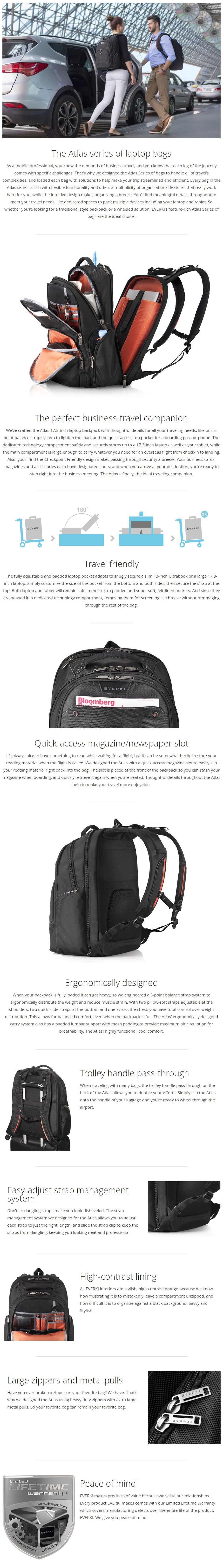 """Everki 17.3"""" Atlas Checkpoint Friendly Backpack - Overview 1"""