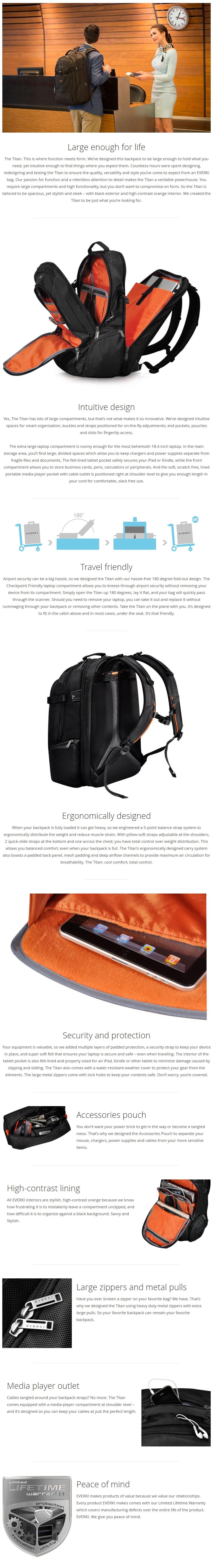 """Everki 18.4"""" Titan Backpack - Overview 1"""