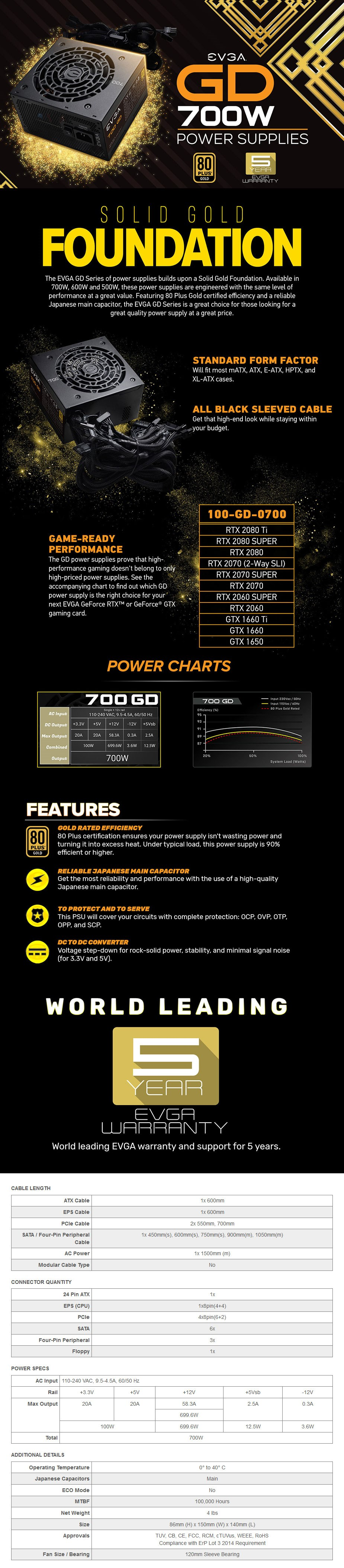 EVGA 700 GD 700W 80+ Gold Non-Modular Power Supply - Desktop Overview 1