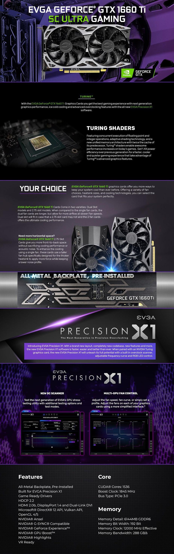 EVGA GeForce GTX 1660 Ti SC ULTRA GAMING 6GB Video Card - Overview 1