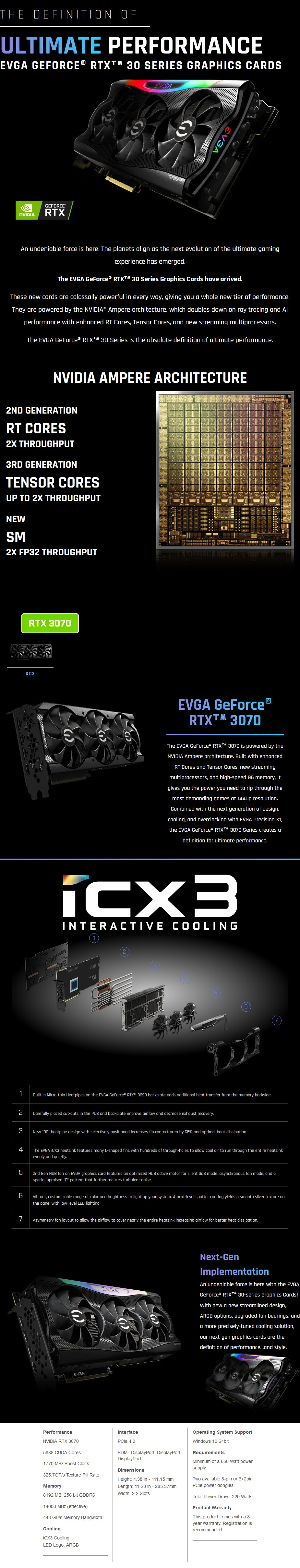 EVGA GeForce RTX 3070 XC3 ULTRA Gaming 8GB Video Card - Overview 1