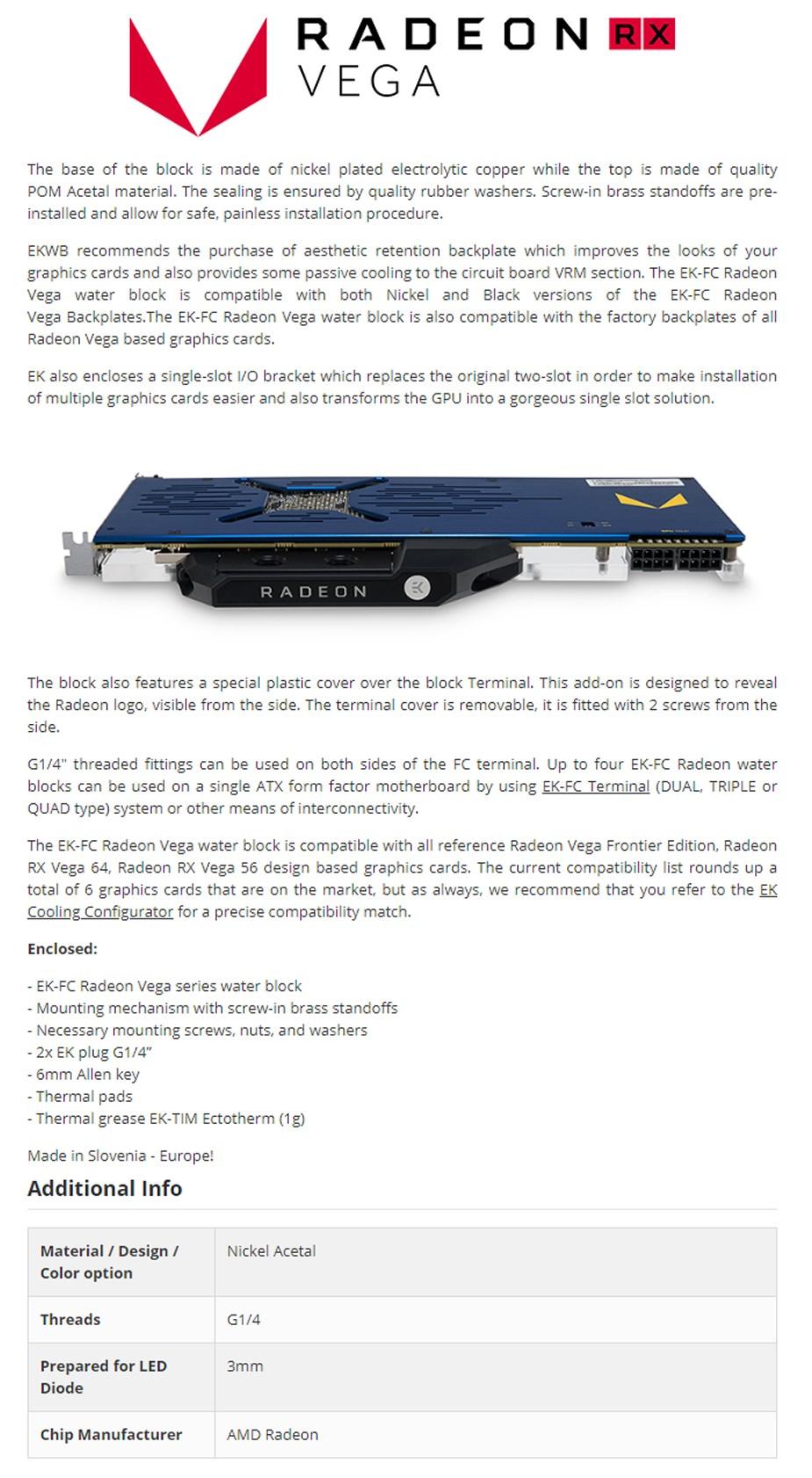 EWKB EK-FC Radeon Vega Water Block - Overview 1