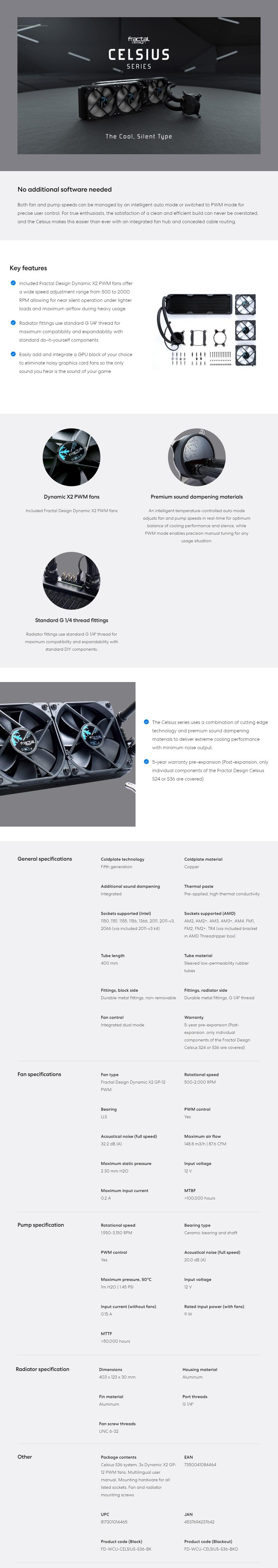 Fractal Design Celsius S36 Liquid CPU Cooler - Blackout - Overview 1