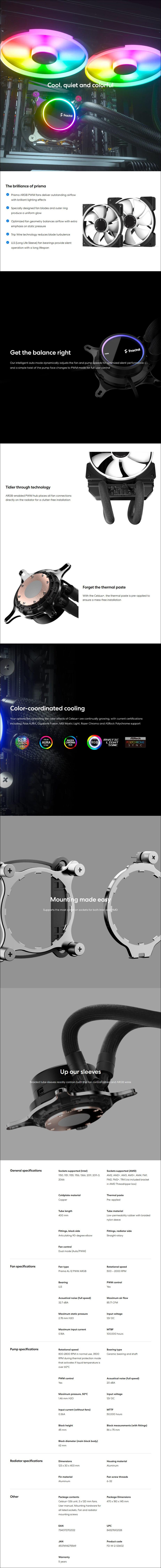 Fractal Design Celsius+ S36 Prisma Liquid CPU Cooler - Overview 1
