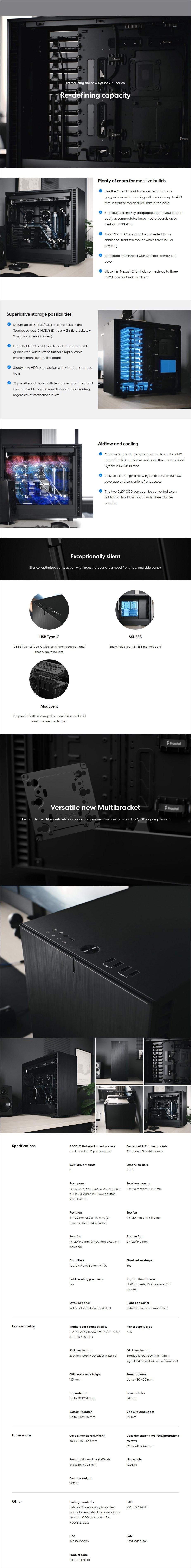 Fractal Design Define 7 XL Full-Tower E-ATX Case - Black - Overview 1