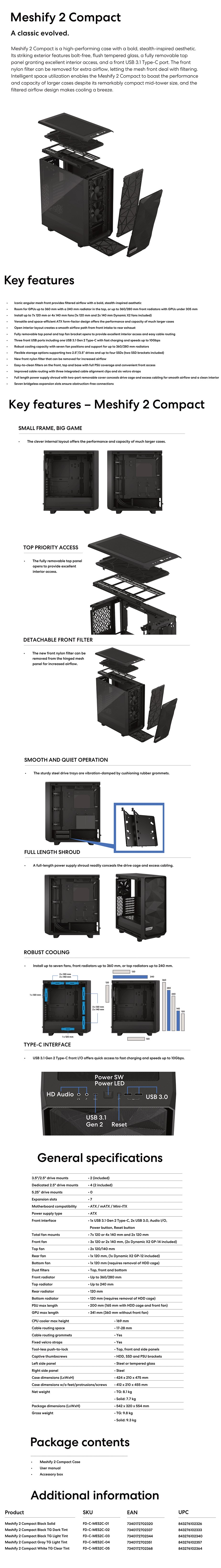 Fractal Design Meshify 2 Compact Solid Mid-Tower ATX Case - Desktop Overview 1