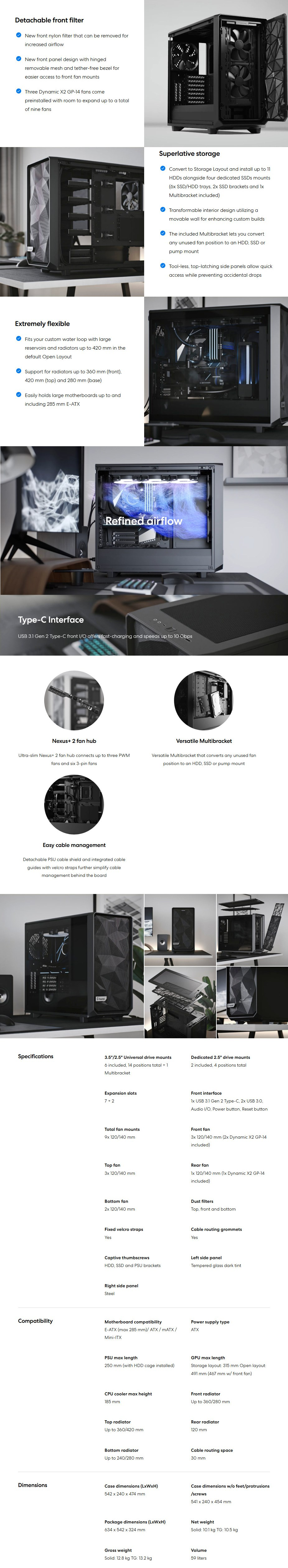 Fractal Design Meshify 2 TG Light Tint USB-C Mid-Tower E-ATX Case - Black - Overview 1