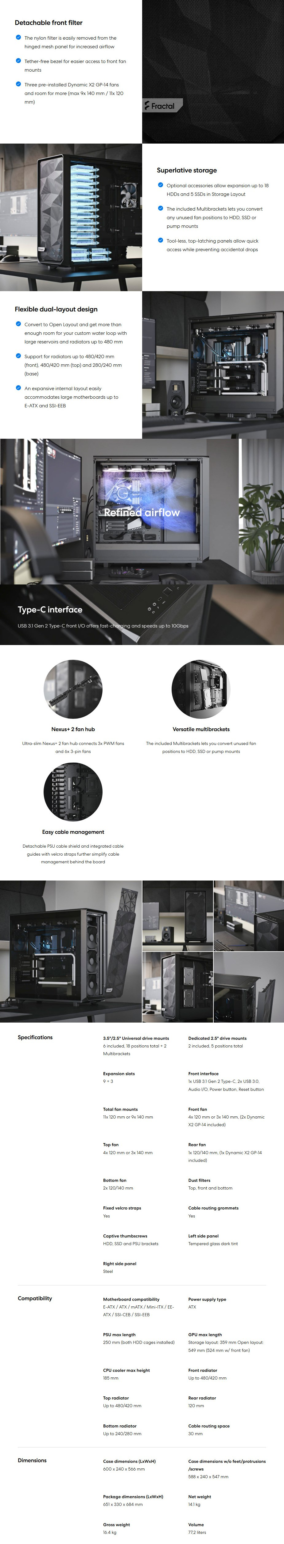 Fractal Design Meshify 2 XL TG Light Tint USB-C Full-Tower E-ATX Case - Black - Overview 1