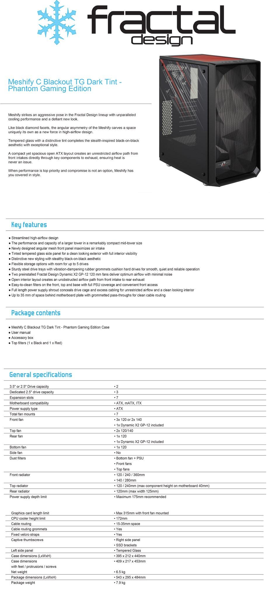 Fractal Design Meshify C Blackout Dark Tint TG - Phantom Gaming Edition - Overview 1