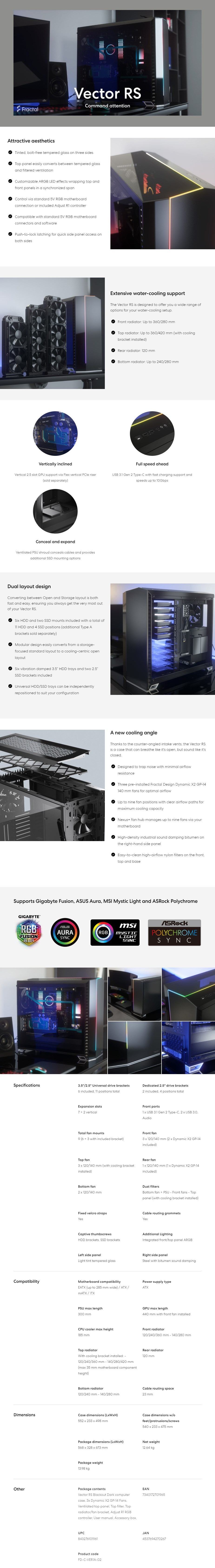 Fractal Design Vector RS Blackout Dark Tempered Glass RGB Mid-Tower E-ATX Case - Desktop Overview 1