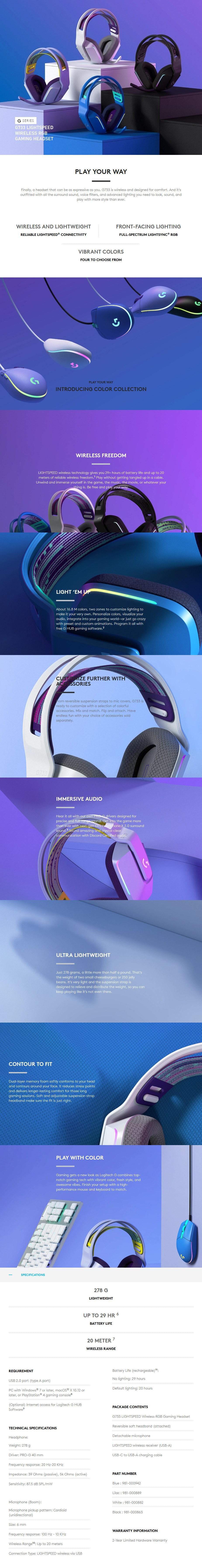 G733 LIGHTSPEED Wireless RGB Gaming Headset - Overview 1