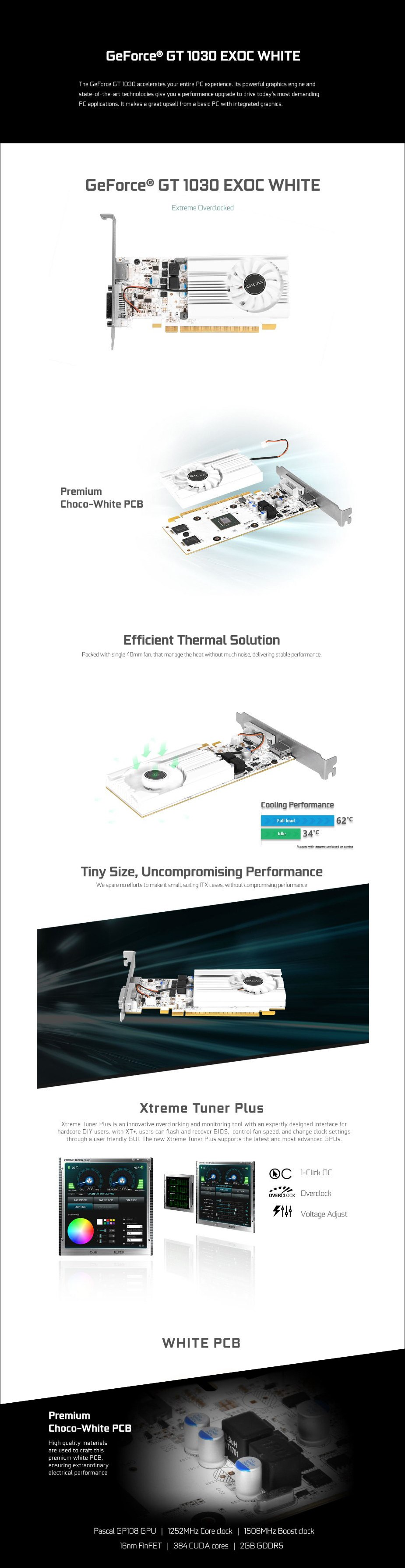 GALAX GeForce GT 1030 EX OC White 2GB Video Card - Overview 1