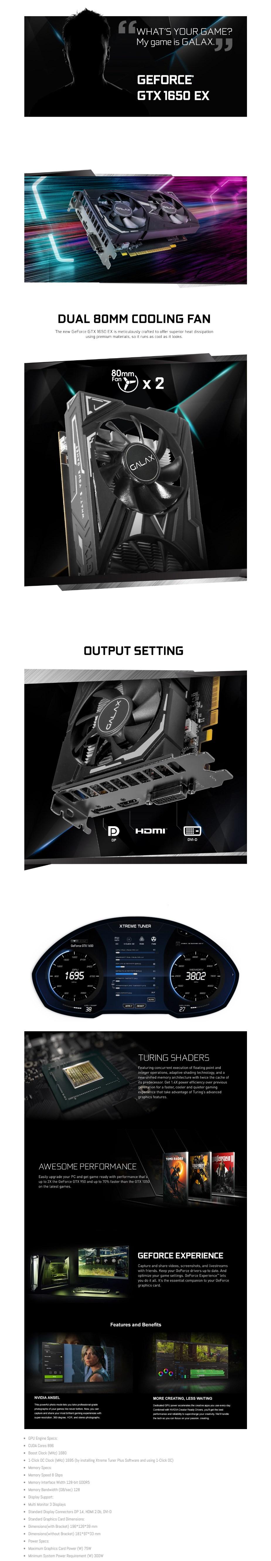 GALAX GeForce GTX 1650 EX 1-Click OC 4GB Video Card - Overview 1