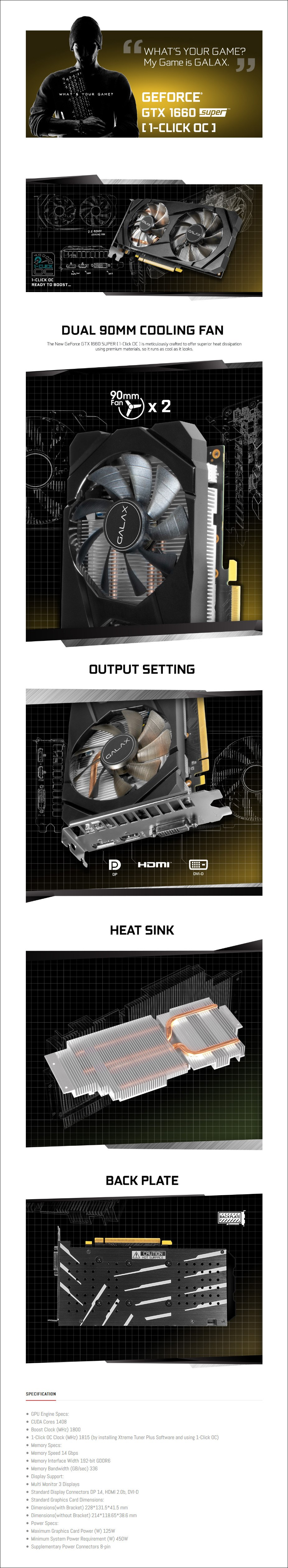 Galax GeForce GTX 1660 SUPER 1-Click OC 6GB Video Card - Overview 1
