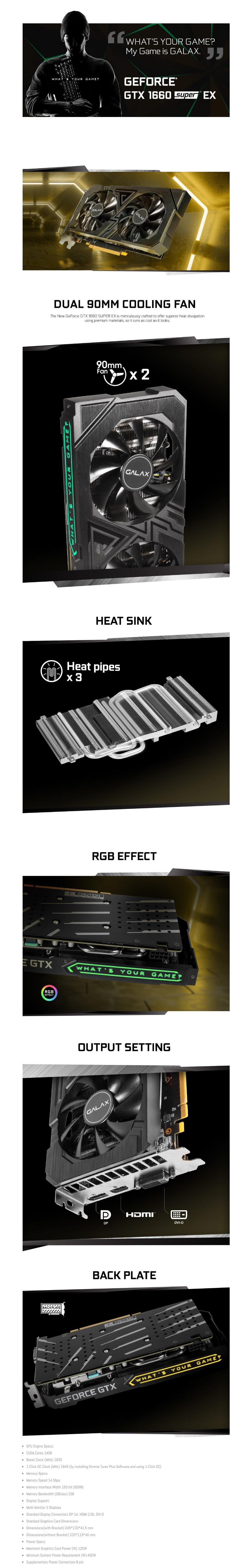 GALAX GeForce GTX 1660 SUPER EX 1-Click OC 6GB Video Card - Overview 1