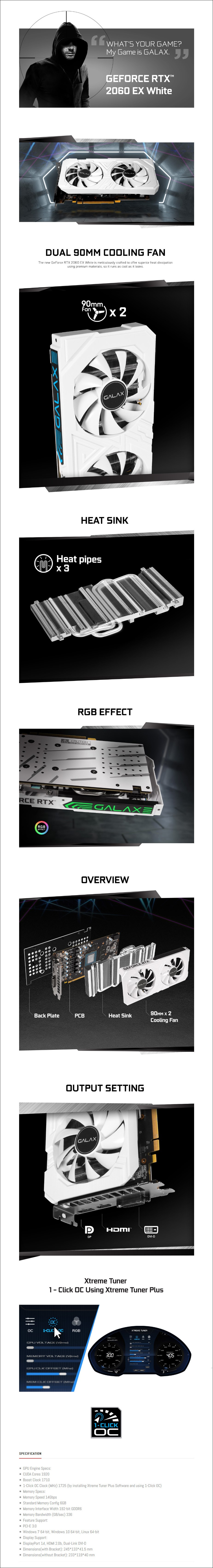 Galax GeForce RTX 2060 EX 1-Click OC 6GB Video Card - White - Overview 1