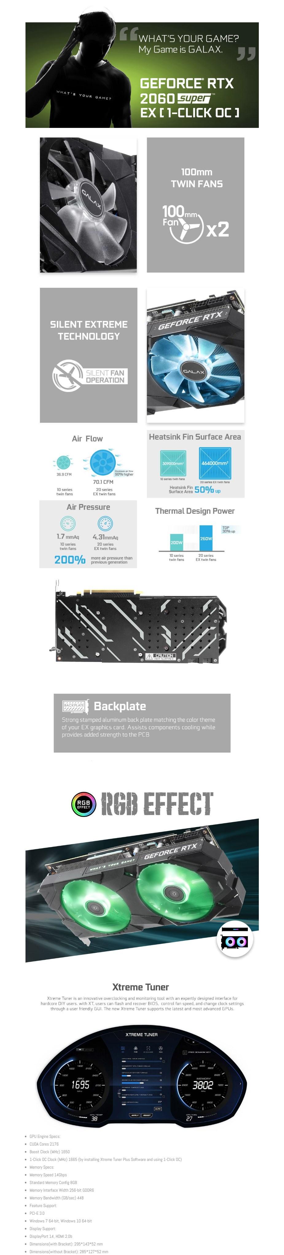 GALAX GeForce RTX 2060 SUPER EX 1-Click OC V2 8GB Video Card - Overview 1
