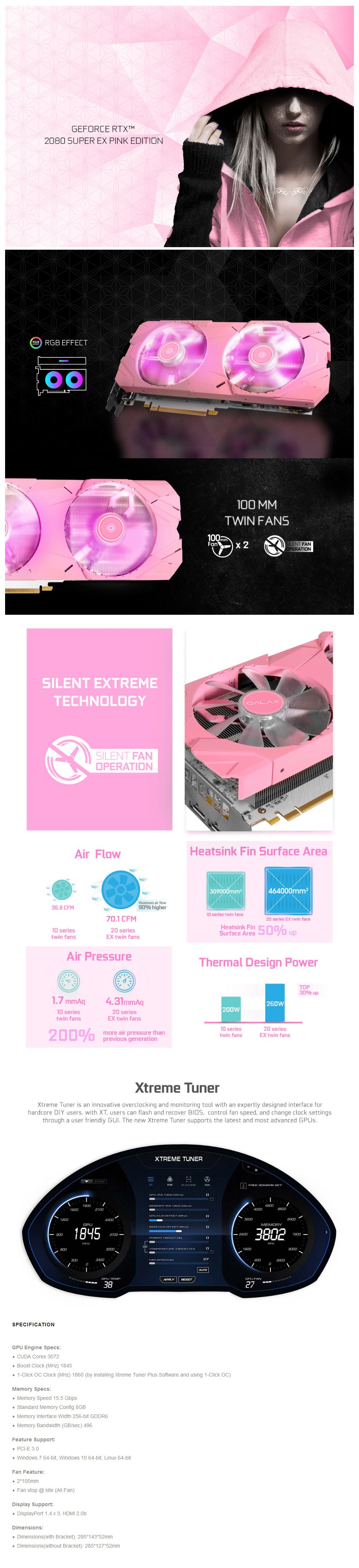 GALAX GeForce RTX 2080 SUPER EX 1-Click OC 8GB Video Card - Pink Edition - Overview 1