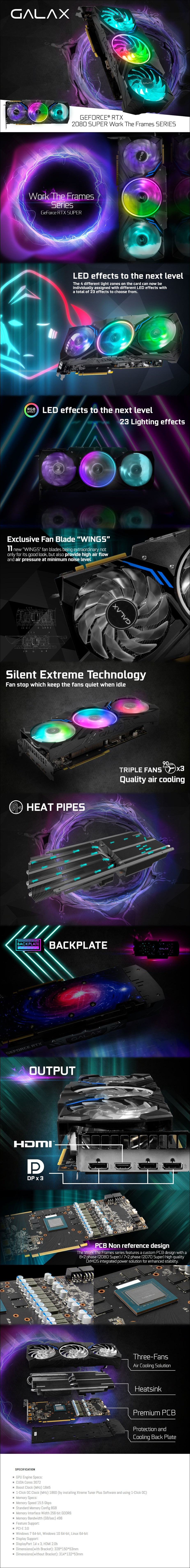 GALAX GeForce RTX 2080 SUPER Work The Frames 8GB Video Card - Overview 1