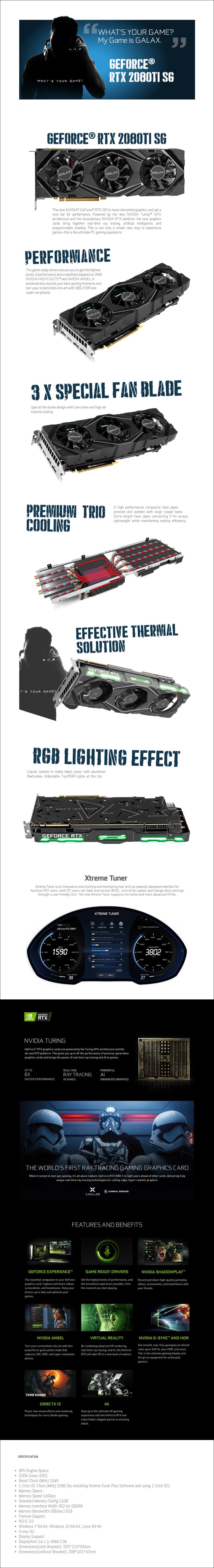 GALAX GeForce RTX 2080 Ti SG 1-Clock OC v2 11GB Video Card - Overview 1