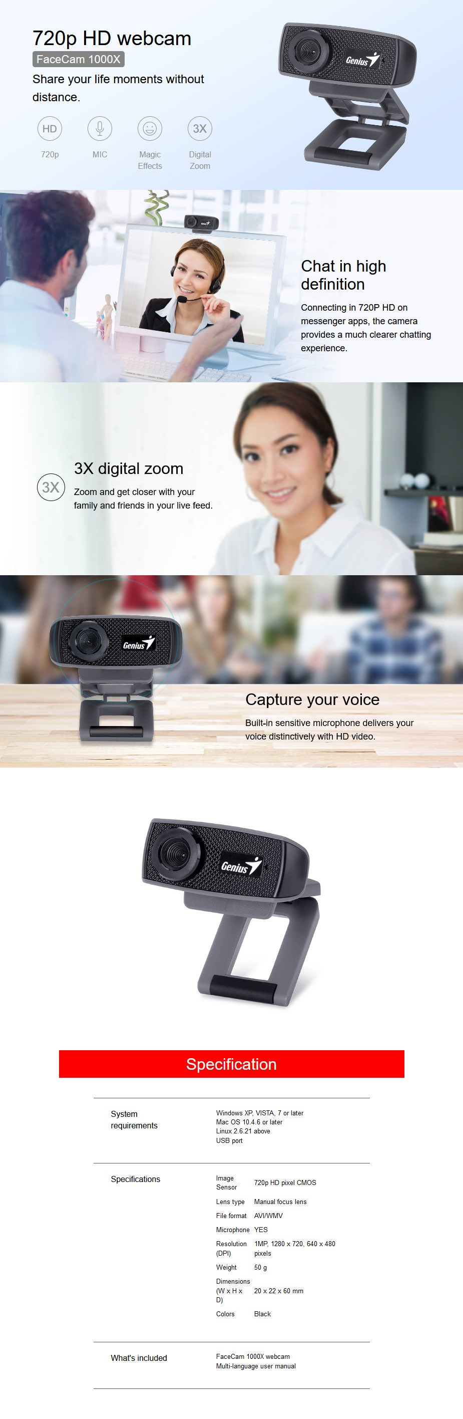 Genius FaceCam 1000X V2 720P HD USB Webcam - Overview 1