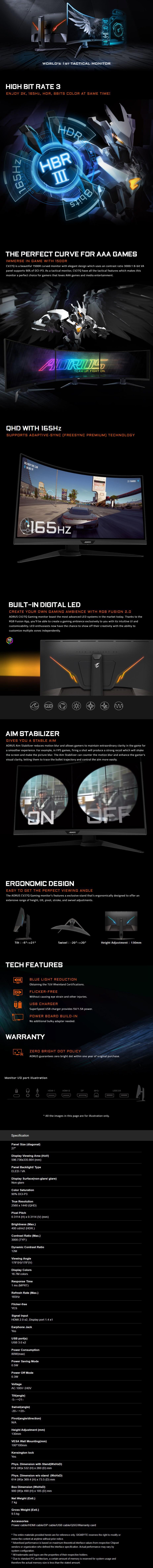 "Gigabyte AORUS CV27Q 27"" 165Hz QHD FreeSync 2 Curved Gaming VA Monitor - Desktop Overview 1"