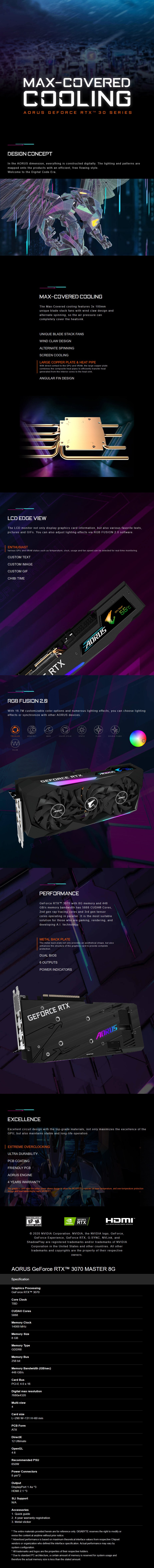 Gigabyte AORUS GeForce RTX 3070 MASTER 8GB Video Card - Overview 1