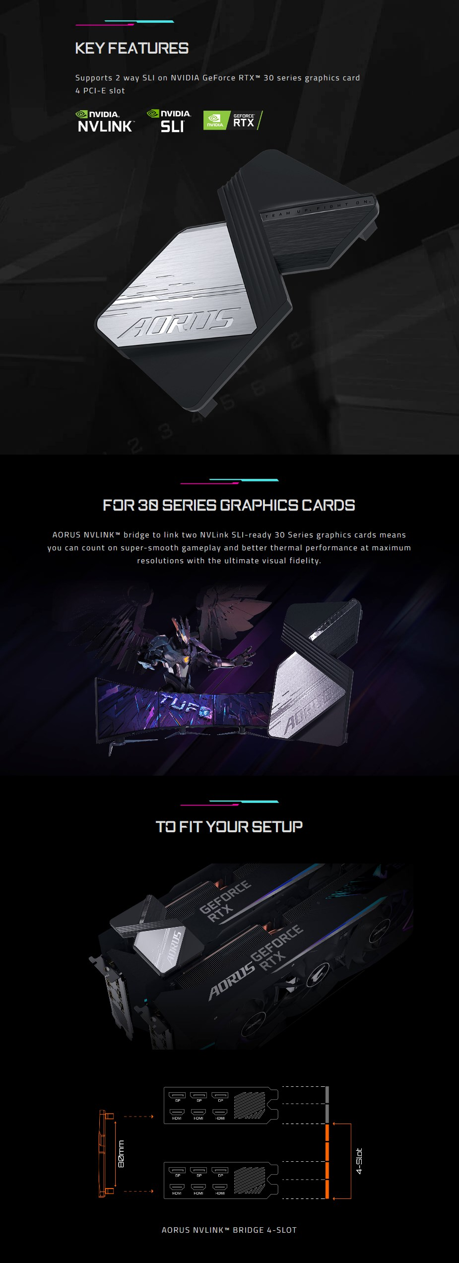 Gigabyte AORUS GeForce RTX NVLINK Bridge for 30 Series - Overview 1