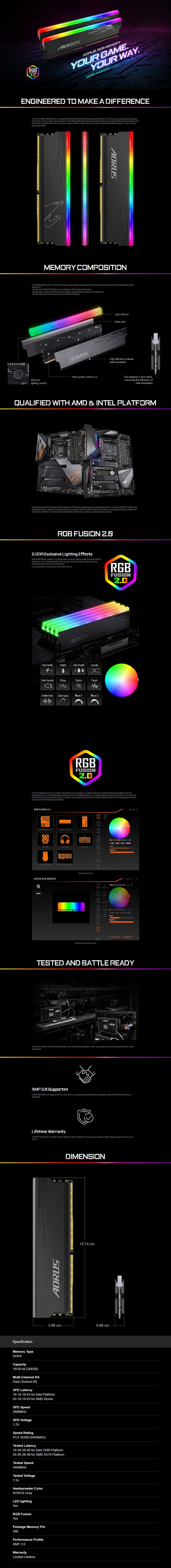 Gigabyte AORUS RGB 16GB (2x 8GB) DDR 4400MHz Memory - Overview 1