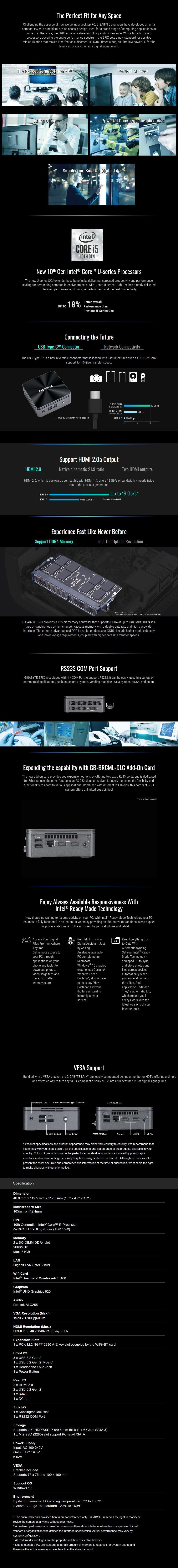 Gigabyte Brix GB-BRi5H-10210 Barebone Kit - Intel i5-10210U Processor - Overview 1